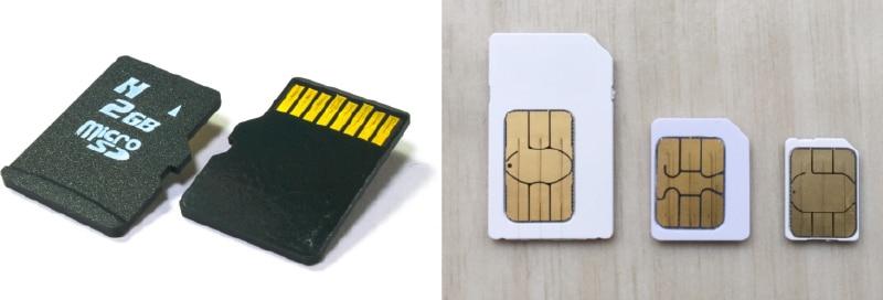 【左】マイクロSDカード、【右】SIMカード