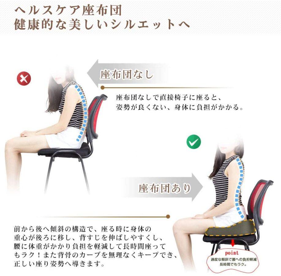 ヘルスケア座布団・背筋が伸び良い姿勢が取れる 在宅勤務 テレワーク クッション おすすめ 快適 腰痛 長時間 仕事 在宅