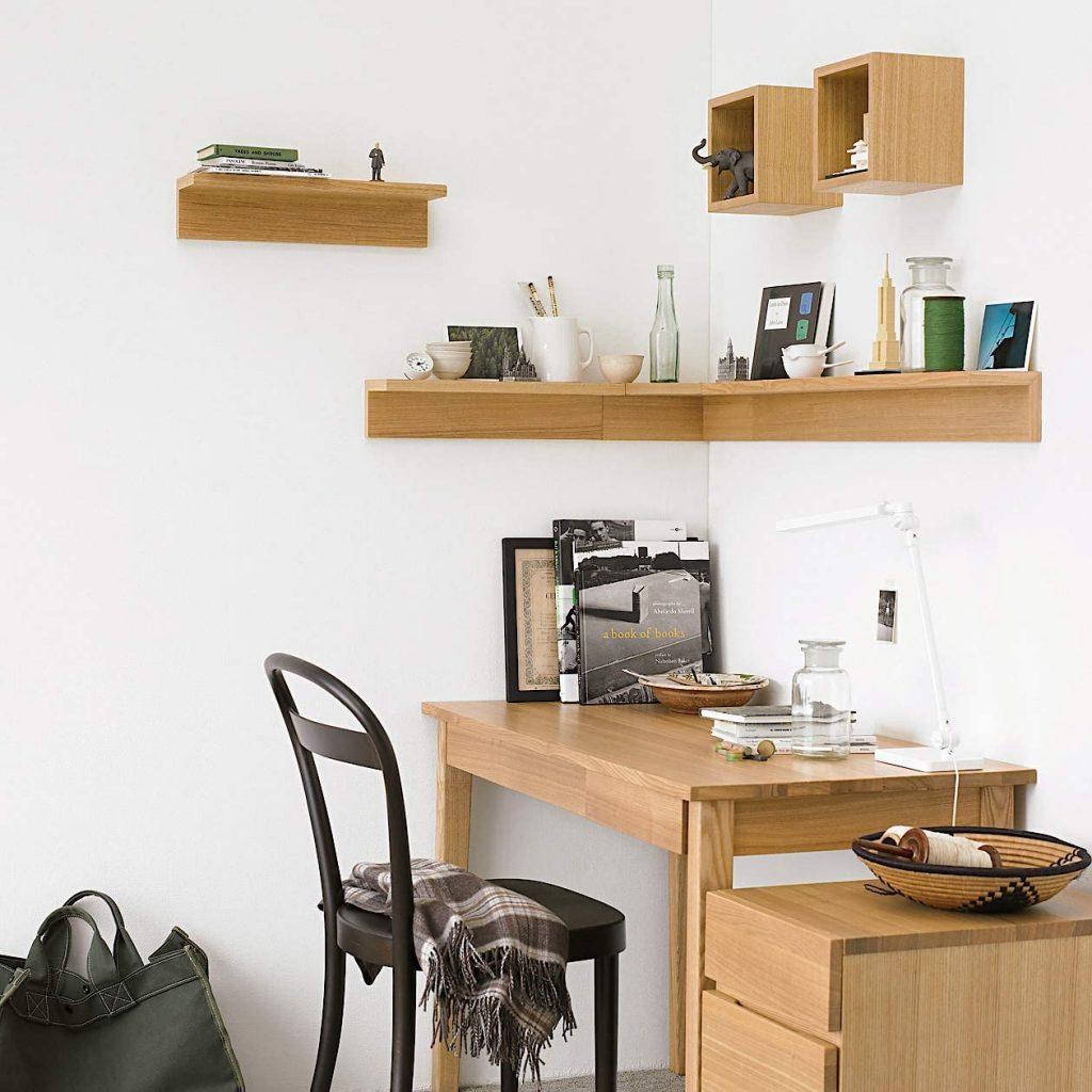 無印良品 壁に付けられる家具 コーナー 棚 角 かど スペース 使える 合わせる 無駄なく