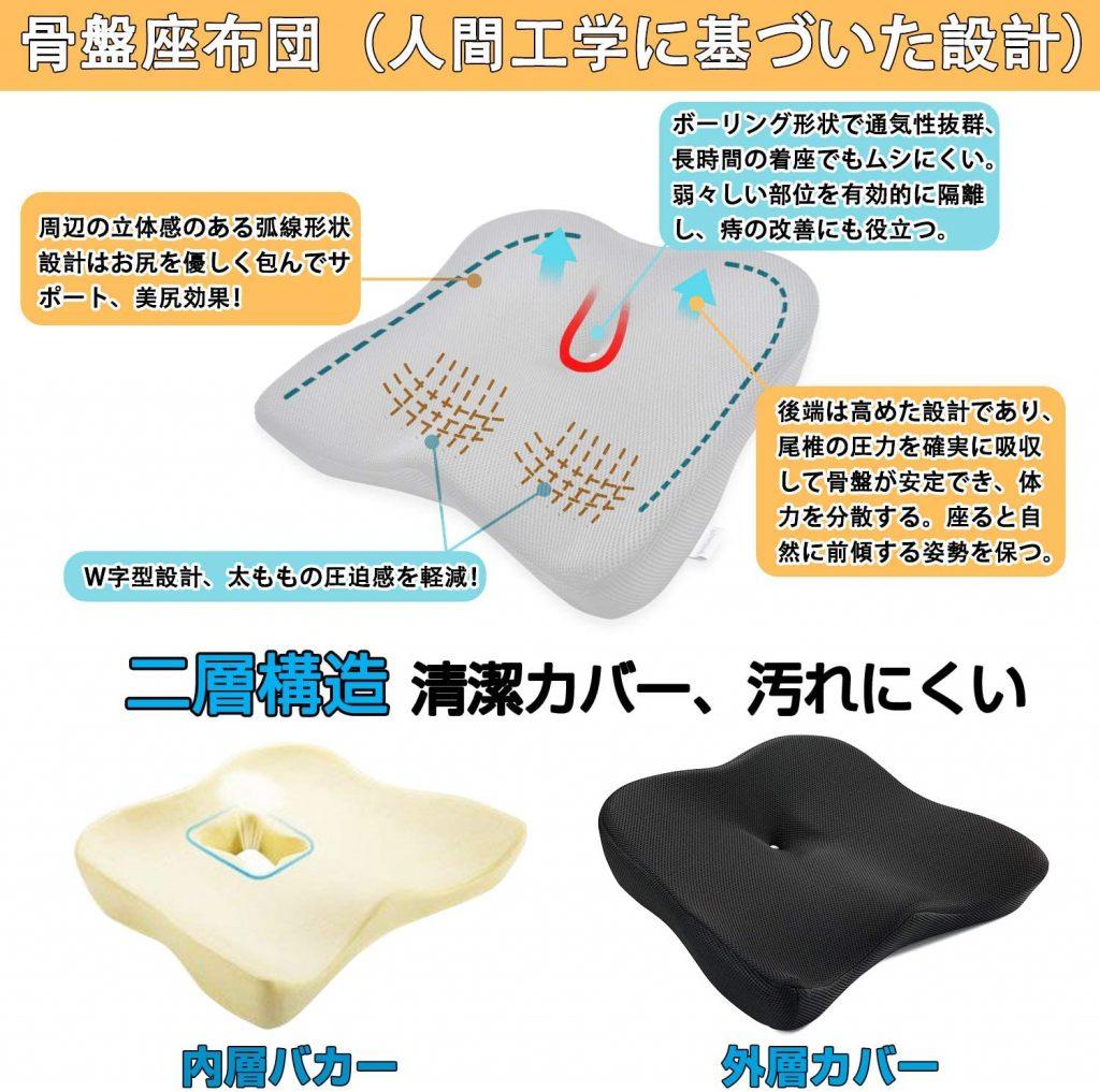 チチロバ(TITIROBA) ゲルクッション 二重構造 清潔カバー 汚れにくい 疲れない 2020 腰 背中 おすすめ ジェルクッション ハニカム 腰痛 ランキング 評判 比較 日本 評価