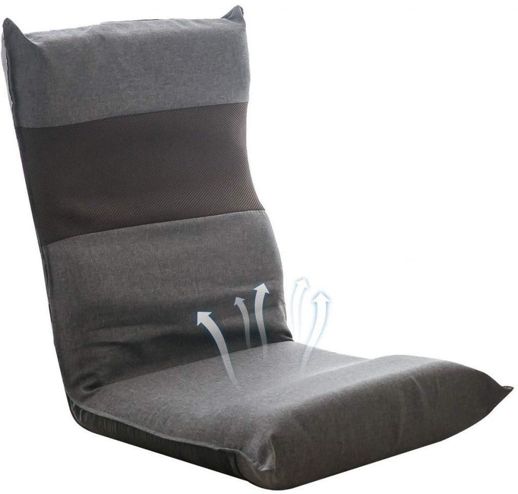 座椅子 フロアチェア S型 低反発ウレタン フロアソファー 6段階調整可能 京田 背骨 腰痛 姿勢  S字 姿勢 背筋 優しい サポート フィット 京田